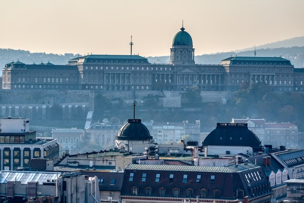 Piękny widok na panoramę miasta zamek królewski i pałac królów węgierskich w budapeszcie w porannej mgle.