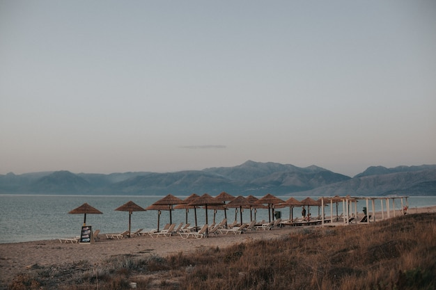 Piękny Widok Na Plażę Z Leżakami Pod Słomianymi Parasolami Darmowe Zdjęcia