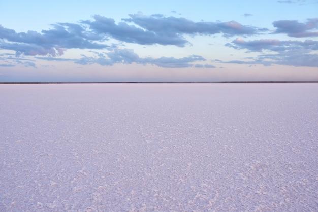 Piękny widok na różowe słone jezioro o zachodzie słońca
