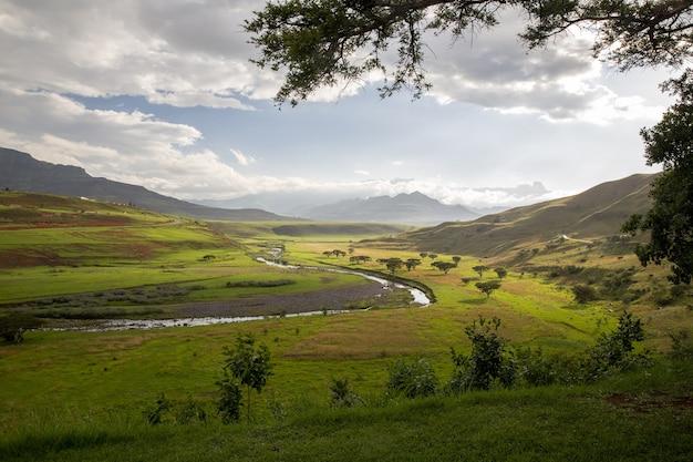 Piękny widok na rzekę, drzewa i trawy otoczone górami z zachmurzonym błękitnym niebem