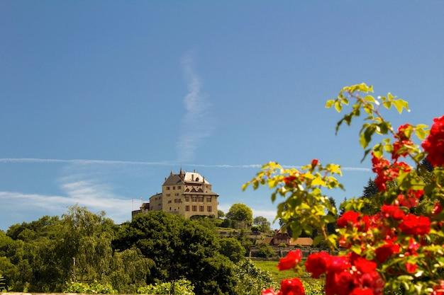 Piękny widok na zamek w słoneczny dzień, menthon-saint-bernard, francja.
