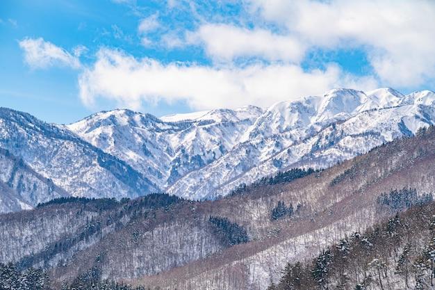 Piękny widok panoramiczny na zaśnieżone góry porośnięte nagimi drzewami