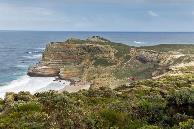 Piękny widok przylądek dobra nadzieja i ocean, południowa afryka