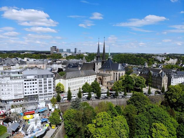 Piękny widok z góry, luksemburg. stolica królestwa luksemburga.
