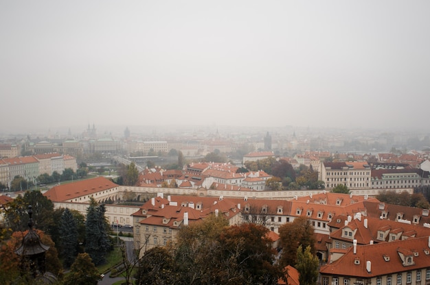 Piękny widok z góry starych domów w europejskim mieście