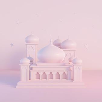 Piękny widok z przodu meczetu islamskiego z delikatnym różowym kolorem