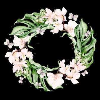 Piękny wieniec akwarela z tropikalnymi liśćmi, kwiatem orchidei i motylem. ilustracja