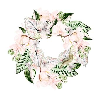 Piękny wieniec akwarelowy z tropikalnymi liśćmi, kwiatem orchidei, ptakiem i motylem. ilustracja