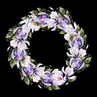 Piękny wieniec kwiatowy malowany akwarelą
