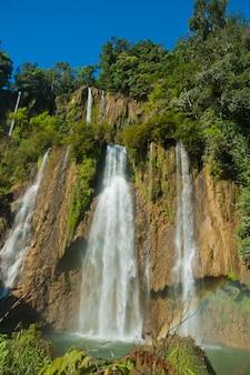 Piękny wodospad, tło lasu, krajobraz
