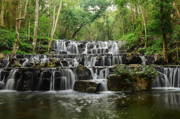 Piękny wodospad w środku lasu.