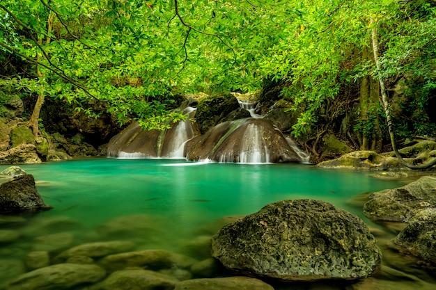 Piękny wodospad w zielonym lesie