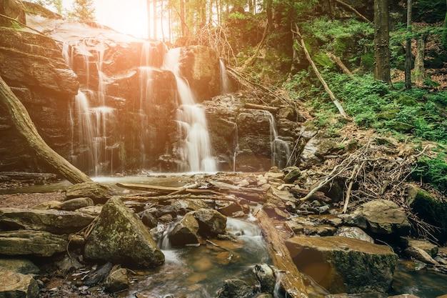 Piękny wodospad z drzewem na pierwszym planie dla twojej reklamy