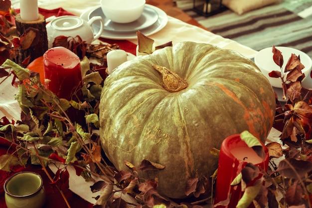 Piękny wystrój jesiennego stołu z zieloną dynią
