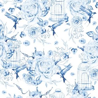 Piękny wzór akwarela z ptakami i kwiatami i klatka dla ptaków ilustracja