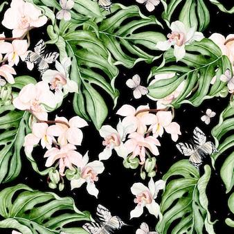 Piękny wzór akwarela z tropikalnych liści, kwiatów orchidei i motyli. ilustracja
