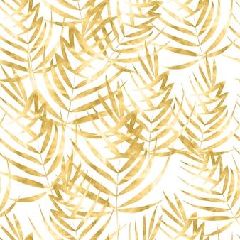 Piękny wzór akwarela ze złotymi tropikalnymi liśćmi.