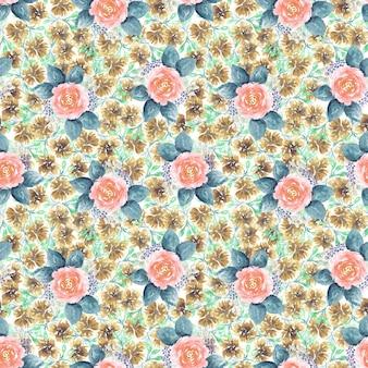 Piękny wzór z ręcznie rysowane akwarele delikatnych różowych róż z dużymi liśćmi na tekstylia, papier pakowy