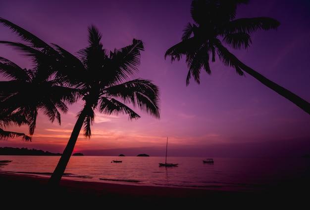Piękny zachód słońca na plaży w tropikach. niebo i ocean