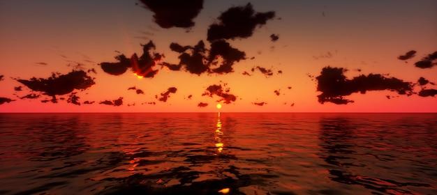 Piękny zachód słońca nad morzem. 3d odpłacają się
