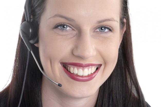 Piękny żeński pracownik centrum telefonicznego