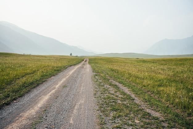 Piękny zielony krajobraz górski z długą polną drogą i dużymi górami we mgle. klimatyczna mglista górska sceneria z długością drogi wśród wzgórz. malowniczy widok na drzewo w pobliżu polnej drogi w dużych górach.