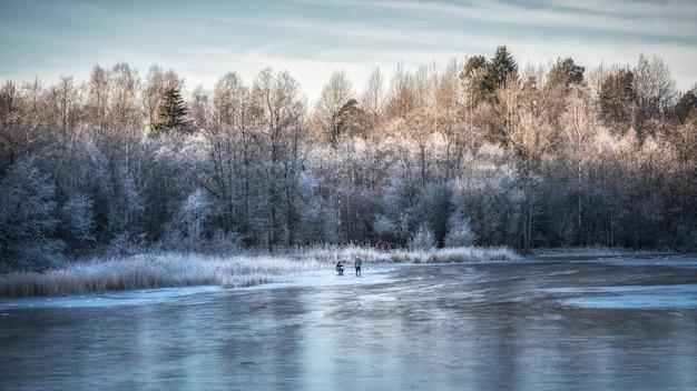 Piękny zimowy dzień z wędkarstwem pod lodem. panorama zimowego krajobrazu z zamarzniętym jeziorem i białymi drzewami na mrozie.