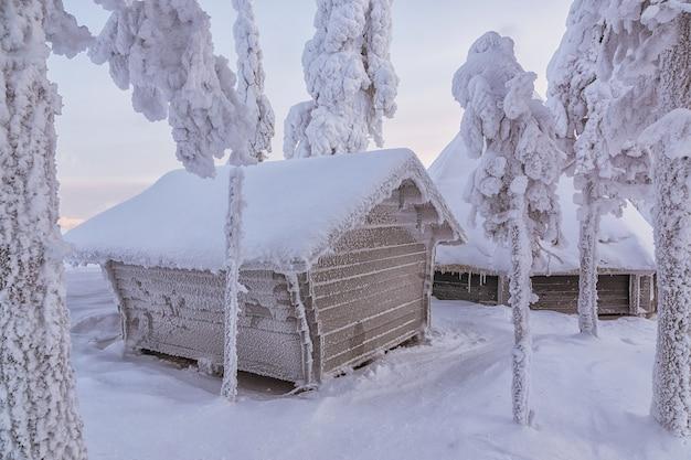 Piękny zimowy krajobraz. drewniany dom w lesie zimą.
