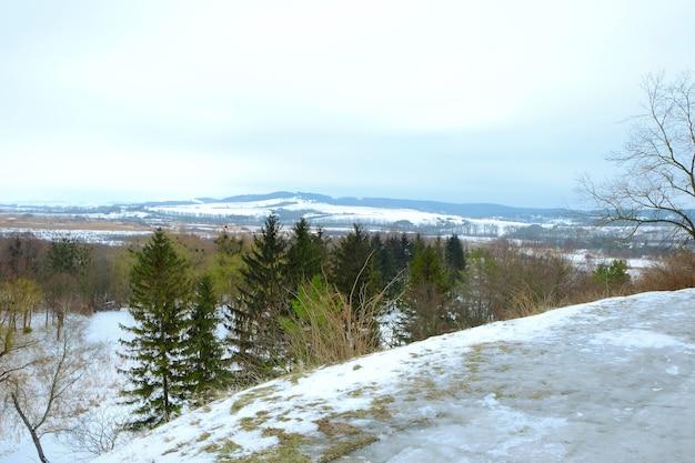 Piękny zimowy krajobraz z pokrytymi śniegiem wzgórzami i drzewami