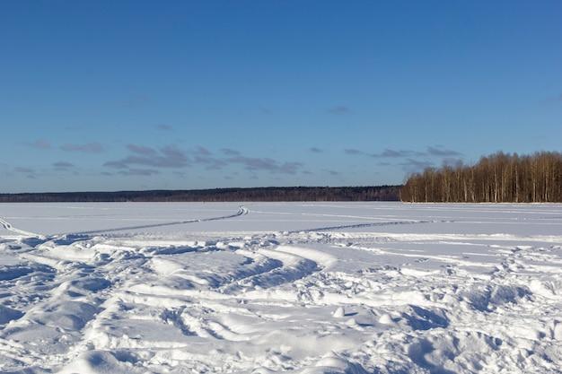 Piękny zimowy krajobraz z pola białego śniegu i lasu na horyzoncie w słoneczny mroźny dzień.