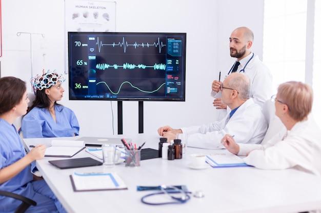 Pielęgniarka nosząca skaner fal mózgowych podczas eksperymentu medycznego na konferencji neurobiologicznej. monitor pokazuje nowoczesne badanie mózgu, podczas gdy zespół naukowców dostosowuje urządzenie.