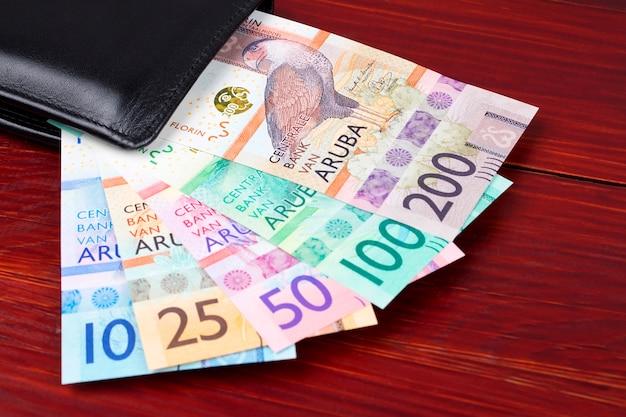 Pieniądze aruban - florin w czarnym portfelu