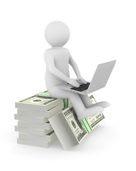 Pieniądze i człowiek z laptopem na białym tle. izolowana ilustracja 3d