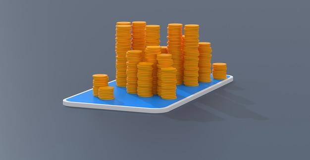 Pieniądze lub bitcoin - ilustracja 3d