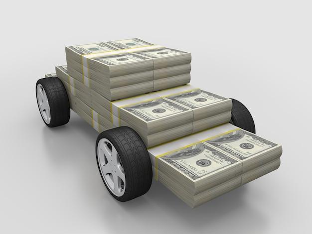 Pieniądze sterta z kołami, samochód dla gotówkowego pojęcia. renderowanie 3d