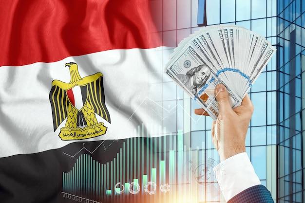 Pieniądze w dłoni mężczyzny na tle flagi egiptu