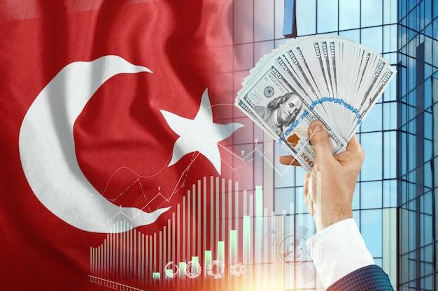 Pieniądze w dłoni mężczyzny na tle flagi turcji