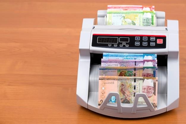 Pieniądze z gambii - dalasi w maszynie liczącej