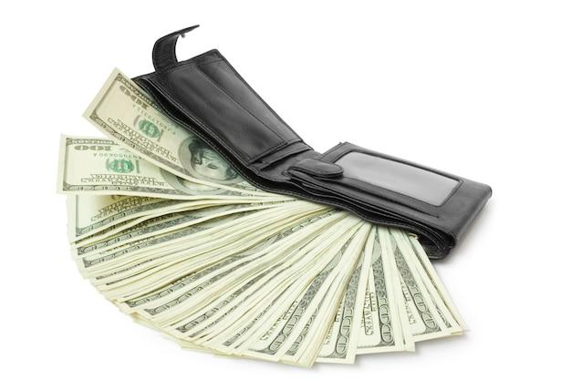 Pieniądze z portfelem na białym tle