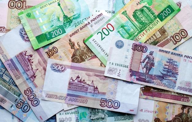 Pieniądze z rosji banknoty o różnych nominałach koncepcji finansowania
