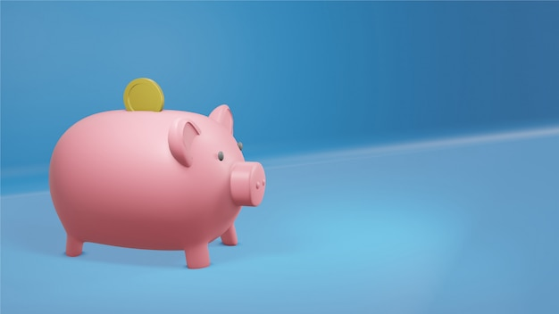 Pieniędzy savings pojęcie, prosiątko bank, 3d odpłaca się.