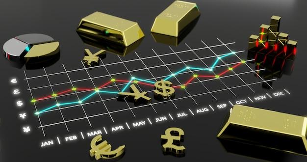 Pieniężna rynek walutowy wymiana., 3d ilustracja.