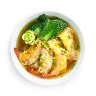 Pierogi z krewetkamipak choy warzyw z zupą posyp dymką i chrupiącym czosnkiem