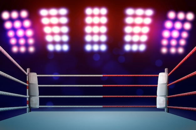 Pierścień bokserski z podświetleniem za pomocą reflektorów.