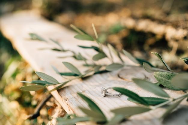 Pierścionek zaręczynowy panny młodej z klejnotem na drewnianej desce z gałązkami drzewa oliwnego na niewyraźnym