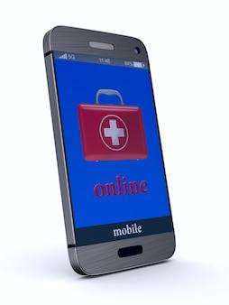 Pierwsza Pomoc Online Na Białym Tle. Izolowane Ilustracji 3d Premium Zdjęcia