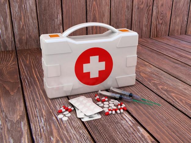 Pierwsza pomoc. zestaw medyczny na drewno na białym tle. ilustracja 3d