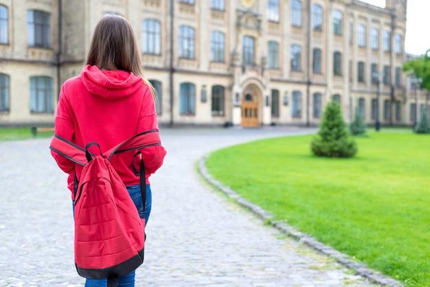 Pierwszy dzień w nowej koncepcji szkoły. tył tył za widok zdjęcie zdenerwowanego zmęczonego zdobywaniem wiedzy nastolatek hipster nastolatka trzymający się za ręce w kieszeniach swetra
