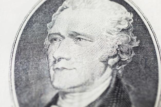 Pierwszy sekretarz skarbu alexander hamilton na dziesięciu dolarach