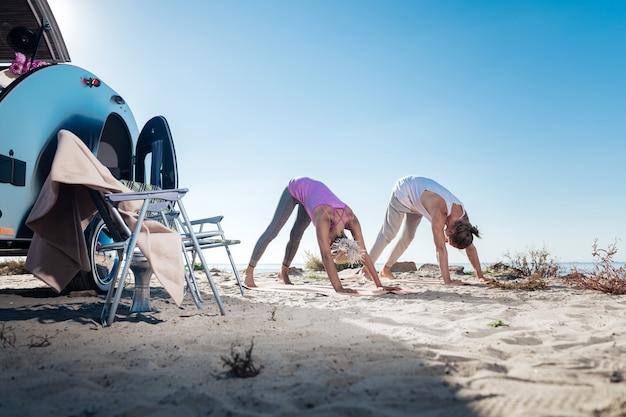 Pies pozuje. nowoczesna, szczupła i wysportowana para profesjonalistów jogi stojących w pozach nad rzeką